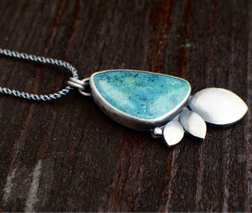 Chrysocolla Shattuckite Seed and Leaf Pendant