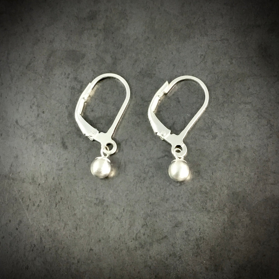 Tiny Silver Ball Earrings