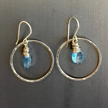 Hammered Circle Earrings with Swiss Blue Topaz