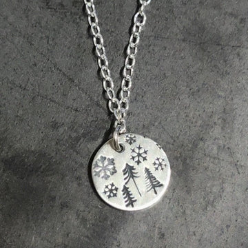 Necklace - Pines and Snowflakes Disc