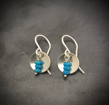 Earrings -Cupped Disk with Turquoise