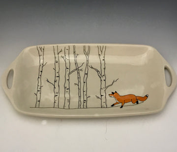 Mishima Serving Dish with Fox and Aspens
