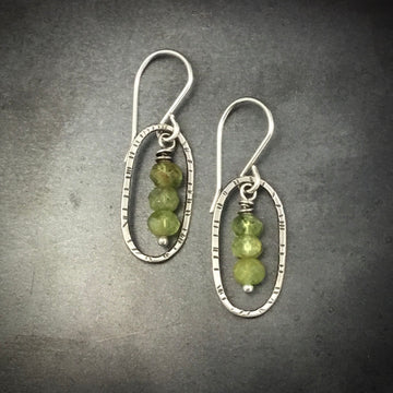 Oval with Green Garnets Earrings