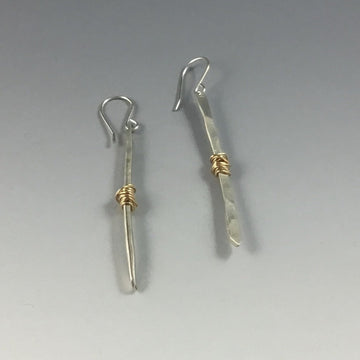 Gold Fill Wrapped Twig Earrings