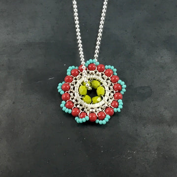 Bloom Necklace - Turquoise, Red, Lime Green