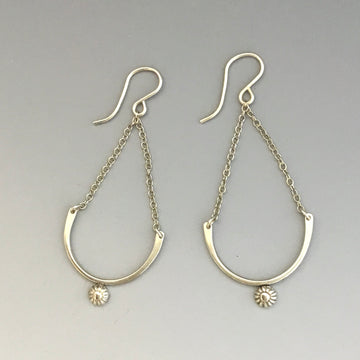 Earrings - Chain with Button Drop