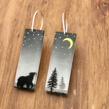 Bear and Moon Earrings