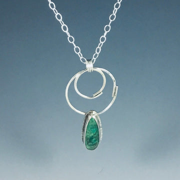 Double Overlap Necklace with Green Turquoise