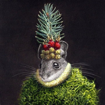 Mouse #38 - Blue Spruce - Original Scratchboard