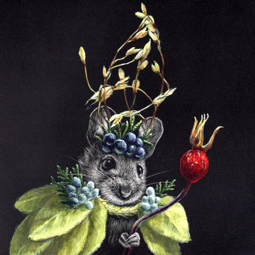 Mouse #37 - Rosehip Scepter - Original Scratchboard