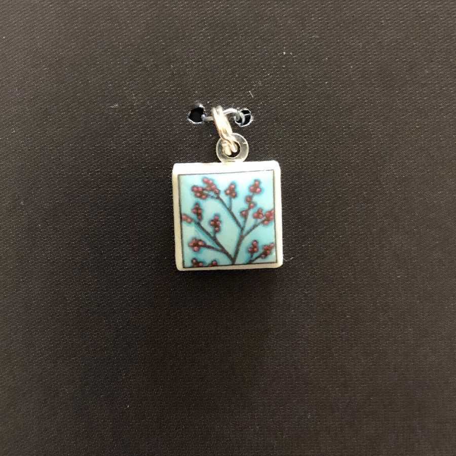 Square Pendant - Berries on Blue