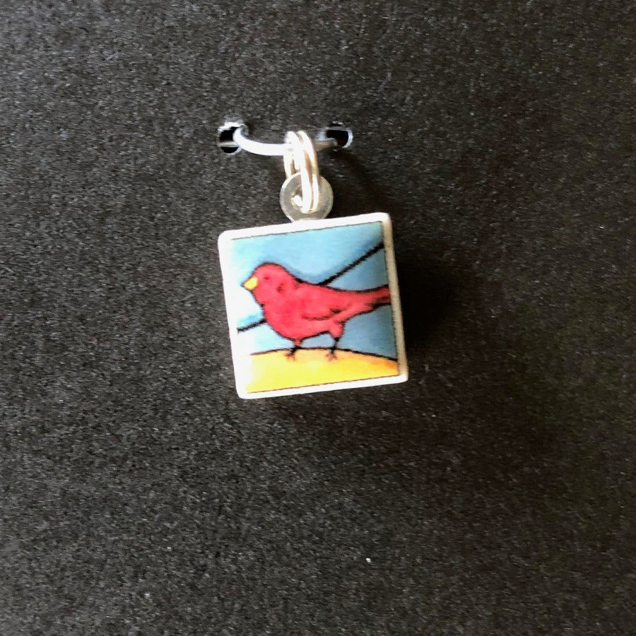 Square Pendant - Red Bird