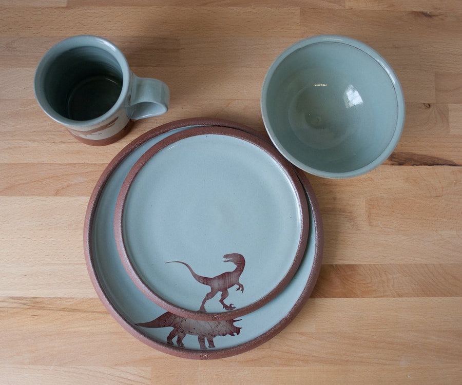 Dinner Plate - Velociraptor - Blue/Grey