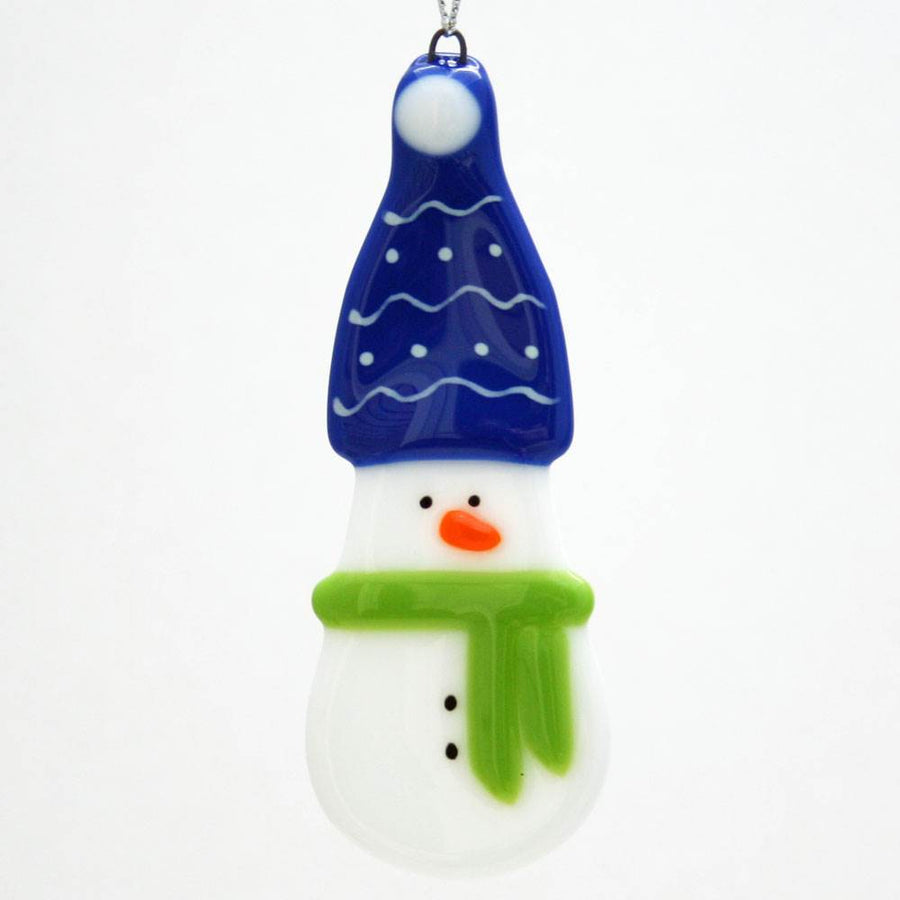 Snowman with Dark Blue Hat Ornament