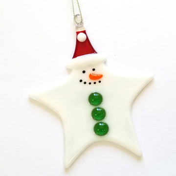 Star Snowman with Green Buttons Ornament