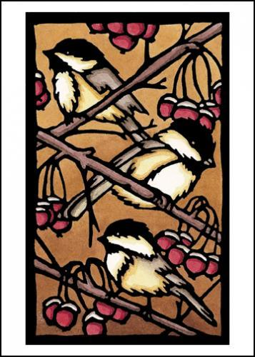 Three Chickadees Original Linocut