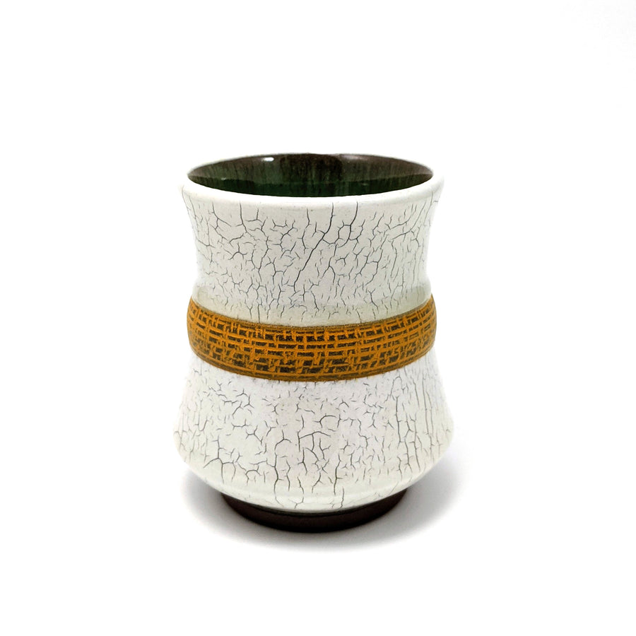 Crackle Tumbler with Yellow Stripe