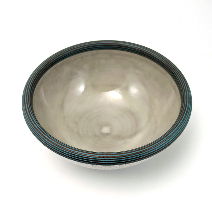 Crackle Bowl with Turquoise Lip