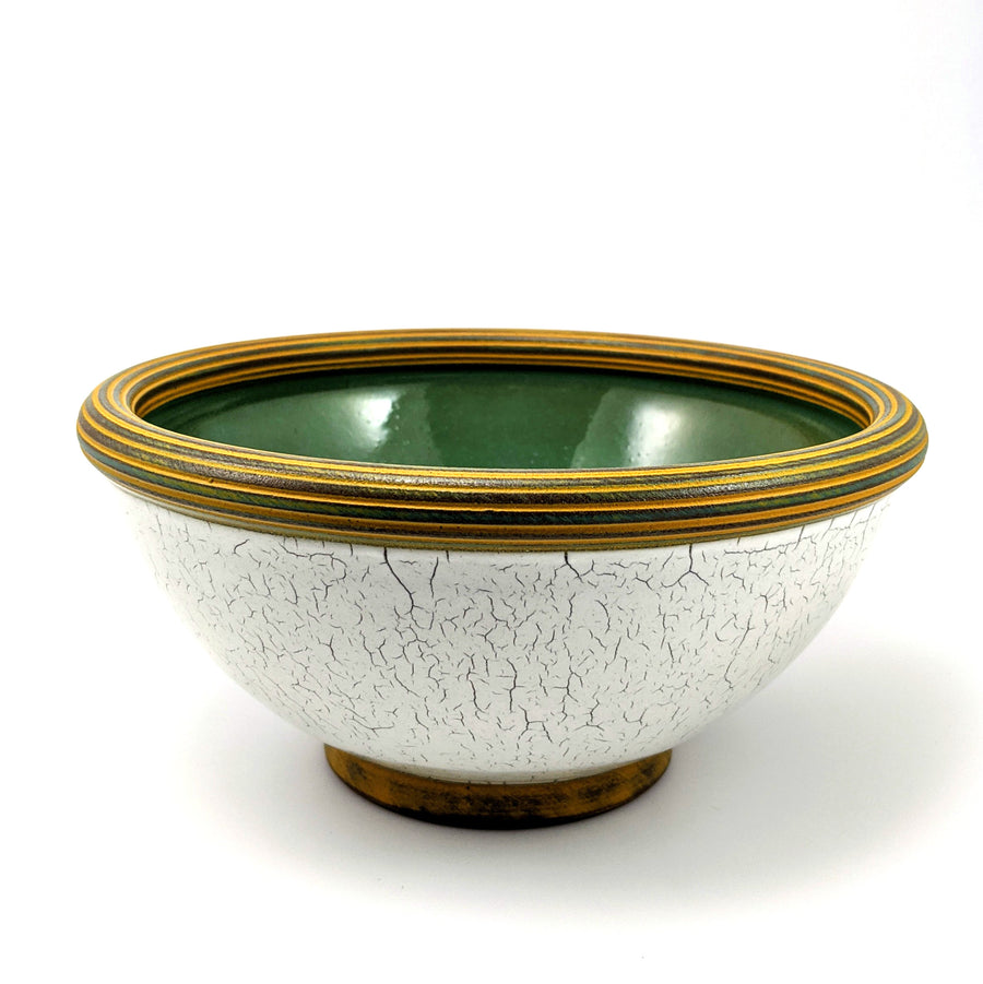Crackle Bowl with Green Center