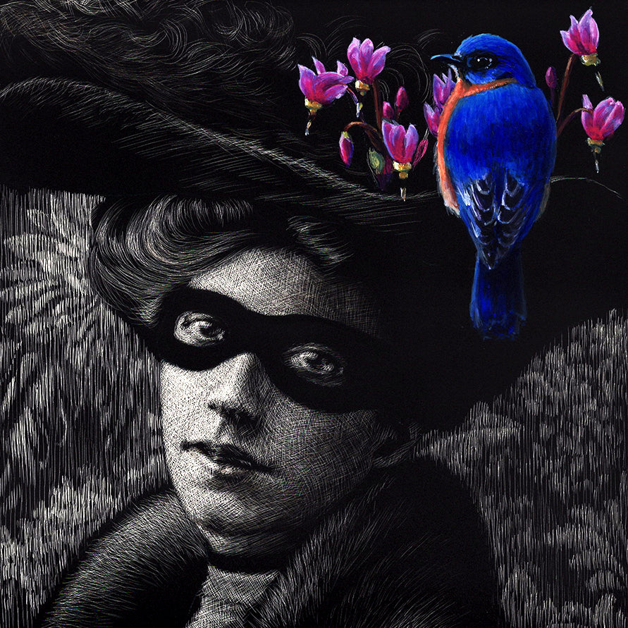 Woman, Masked with Western Bluebird