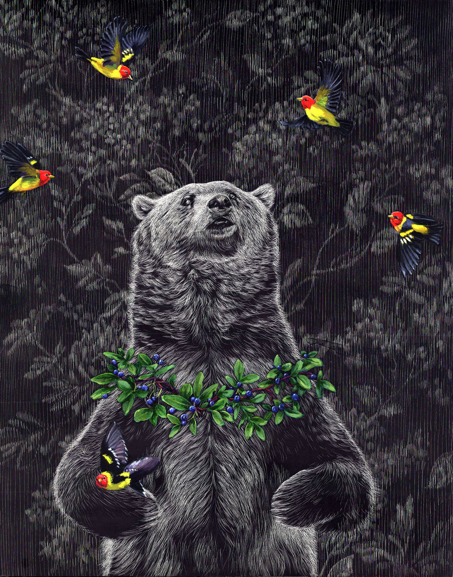 Grizzly with Tanagers