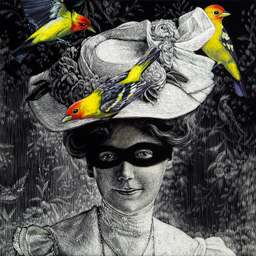 Woman, Masked with Three Tanagers
