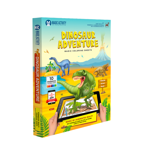 Dinosaur Adventure Coloring Book for Kids with 3D Augmented Reality