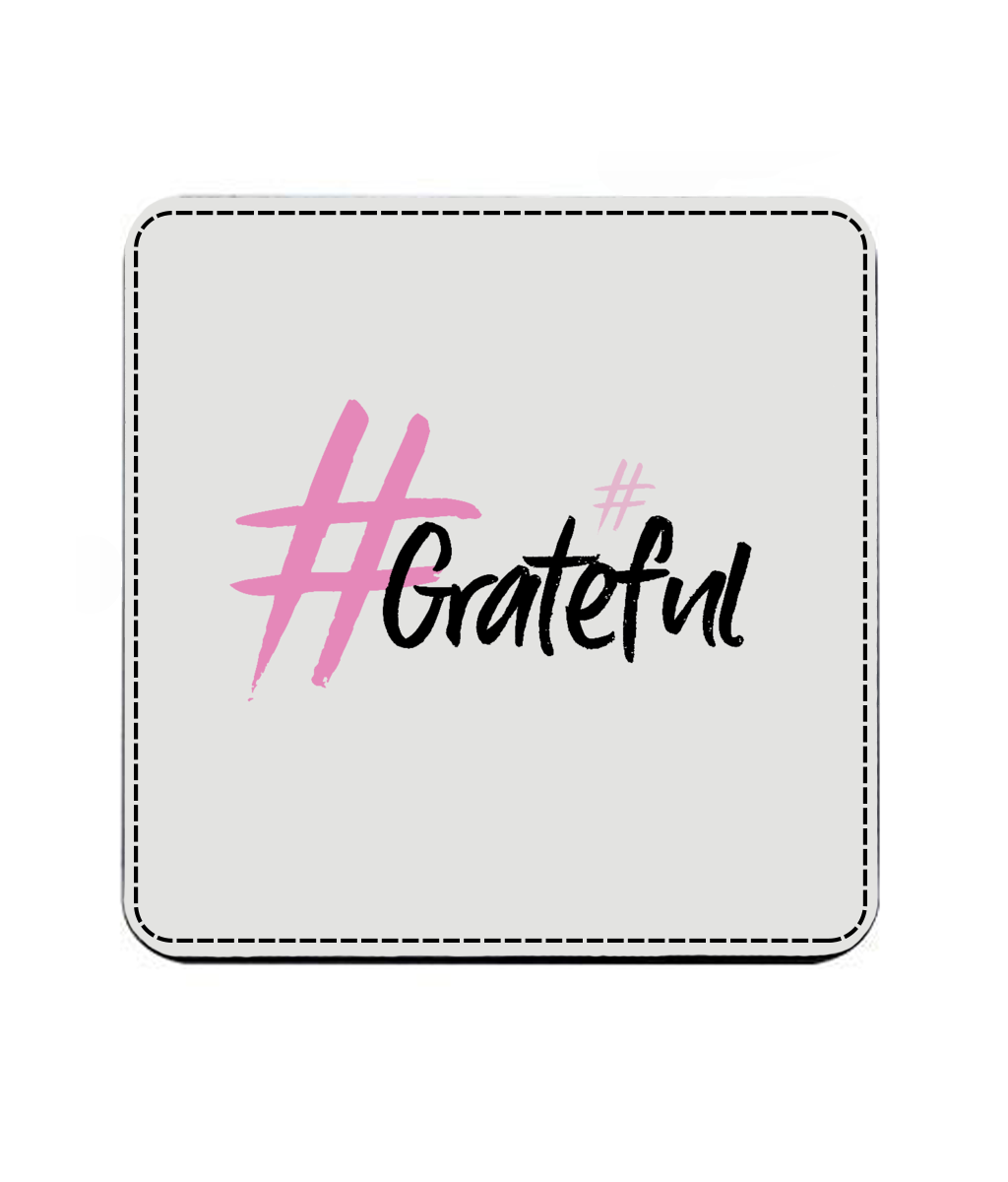 #Grateful (Faux Leather Coaster)