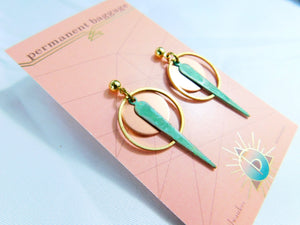 Brass & Copper Patina Earrings - Small/Short Assortment With Copper Disk