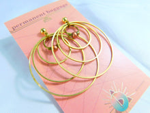 Brass Hoop Earring - Copper Beads - Brass Square Beds