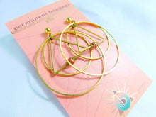 Brass Hoop Earring With Triangle - Copper Beads - Brass Square Beds