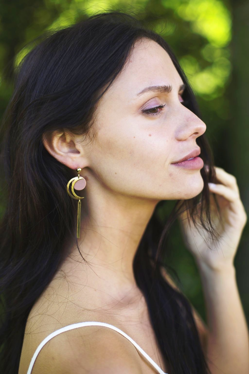 Brass & Copper Earring - Long Slender - Crescent Moon With Brushed Copper Accent