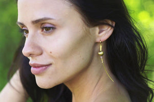 Brass Earring - Long Slender - Large Golden Bead and Earth Tones