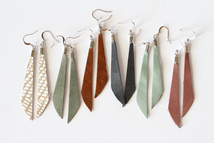 Leather Dangle Earring - Hoof - 5 Pack