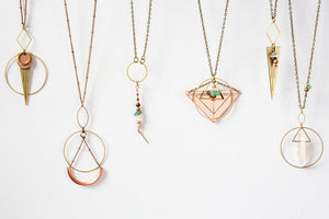 Long Triangle Necklace - Gold Tone - Drop Necklace - Long and Layered -Layered Necklace - Short Necklace - Rose Quartz - Blush Necklace