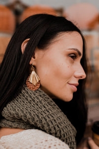 Edgy Earrings - Fall Leaf Autumn Earrings - Modernist Big Stud Earring