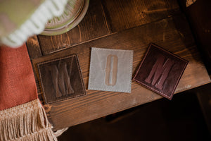 Leather Coasters -Rustic Cabin Decor For Mom - Ready To Ship