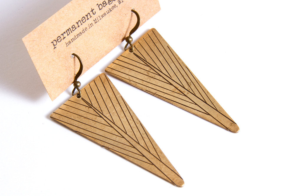Brass Triangle Feather Dangle Earring - Feather Earring - Triangle Earring - Brass Earring - Geometric Earring - Dangle Earring - Minimalist