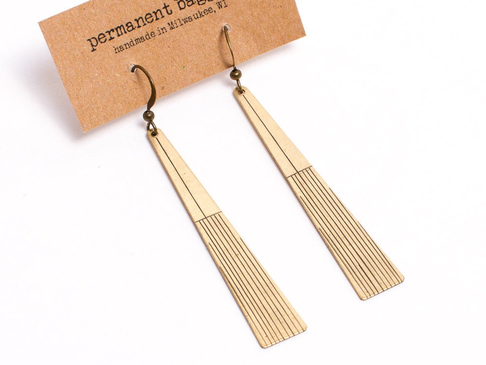 Geometric Earrings - Minimalist Earrings - Brass Earring -  Long Earrings - Dangle Earrings - Triangle Earring - Light Weight Earring