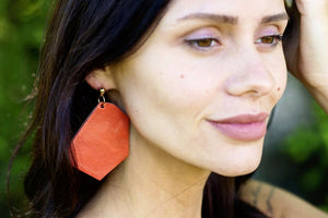 Leather Statement Earring - Dangle Earring - Leather Earring - Geometric Earring - Boho Modern - Minimalist