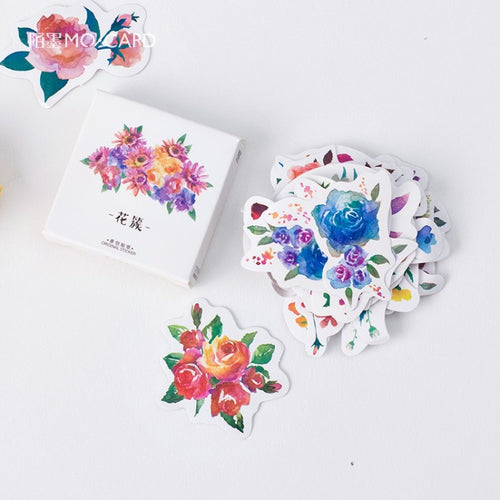 Watercolor flower stickers set floral print