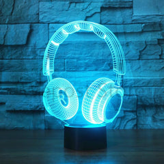 3D DJ Headphone Illlusion Lamp