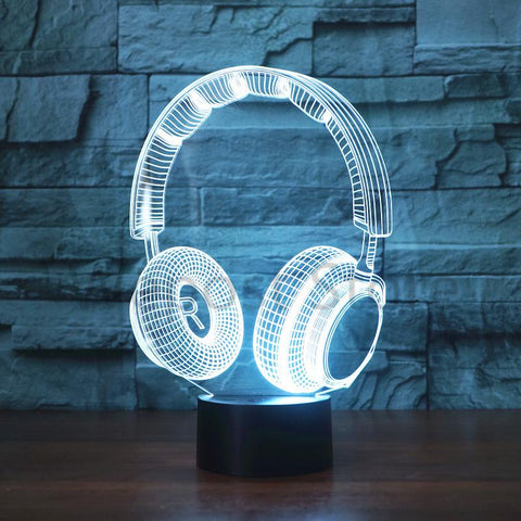 3D DJ Headphone Illlusion Lamp - Looker Gifts