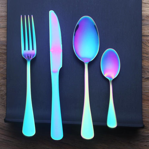 Rainbow Dinner Set 4/24 Pc. - Stainless Steel - Looker Gifts