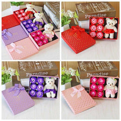 Romantic Gift Box w/Rose Soaps and Bear - SALE!