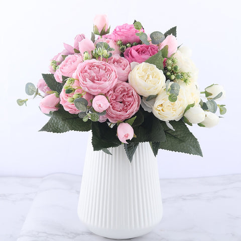 Rose Pink Silk Peony Artificial Flowers Bouquet 5 Big Head and 4 Bud - Looker Gifts