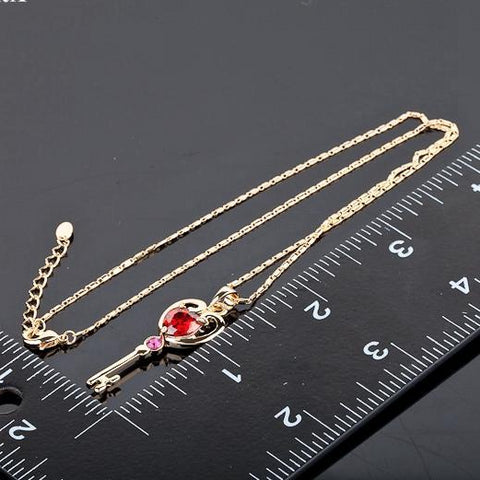 Red Stellux Austrian Key Necklace - Looker Gifts