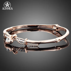 Rose Gold Stellux Austrian Crystal Bangle Bracelet