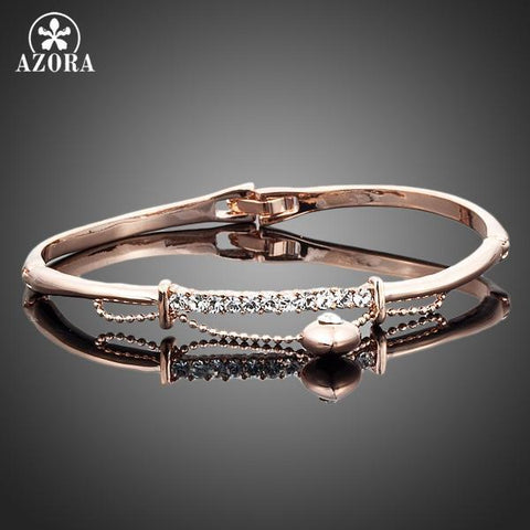 Rose Gold Stellux Austrian Crystal Bangle Bracelet - Looker Gifts