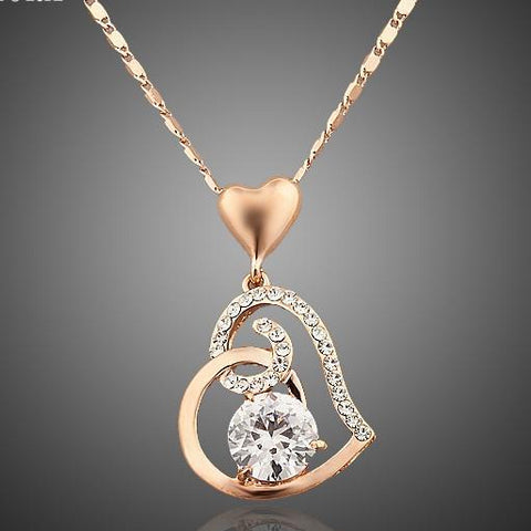 Rose Gold Color Stellux Crystals Heart Necklace - Looker Gifts